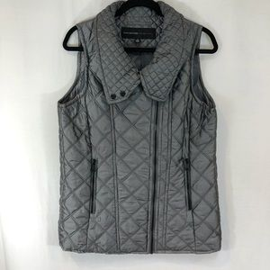 Marc New York Silver Gray  Puffer Vest ZIP Snap M